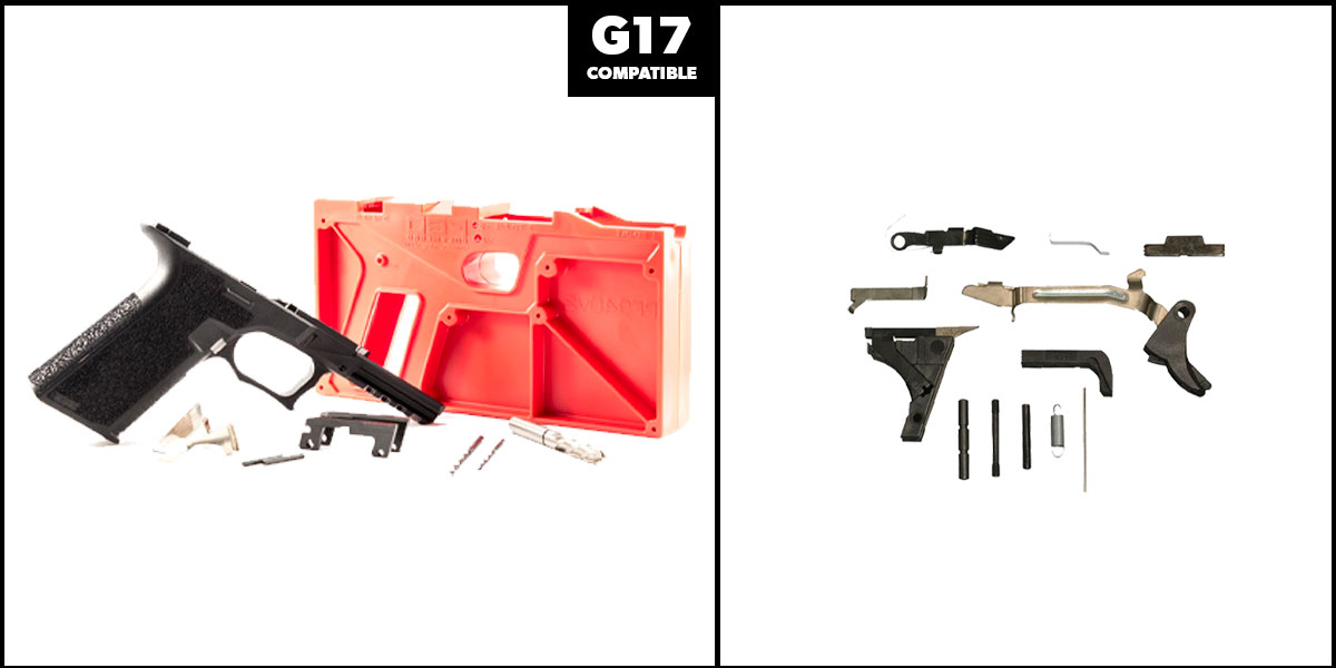 Omega Deals DIY Pistol Kits Featuring: Polymer 80 G17 Frame + Alpha One Glock Lower Parts Kit