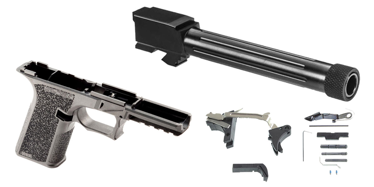 Omega Deals DIY Pistol Kits Featuring: Polymer 80 G17 Frame + Lone Wolf G17 Threaded 9mm Barrel + Alpha One Glock Lower Parts Kit