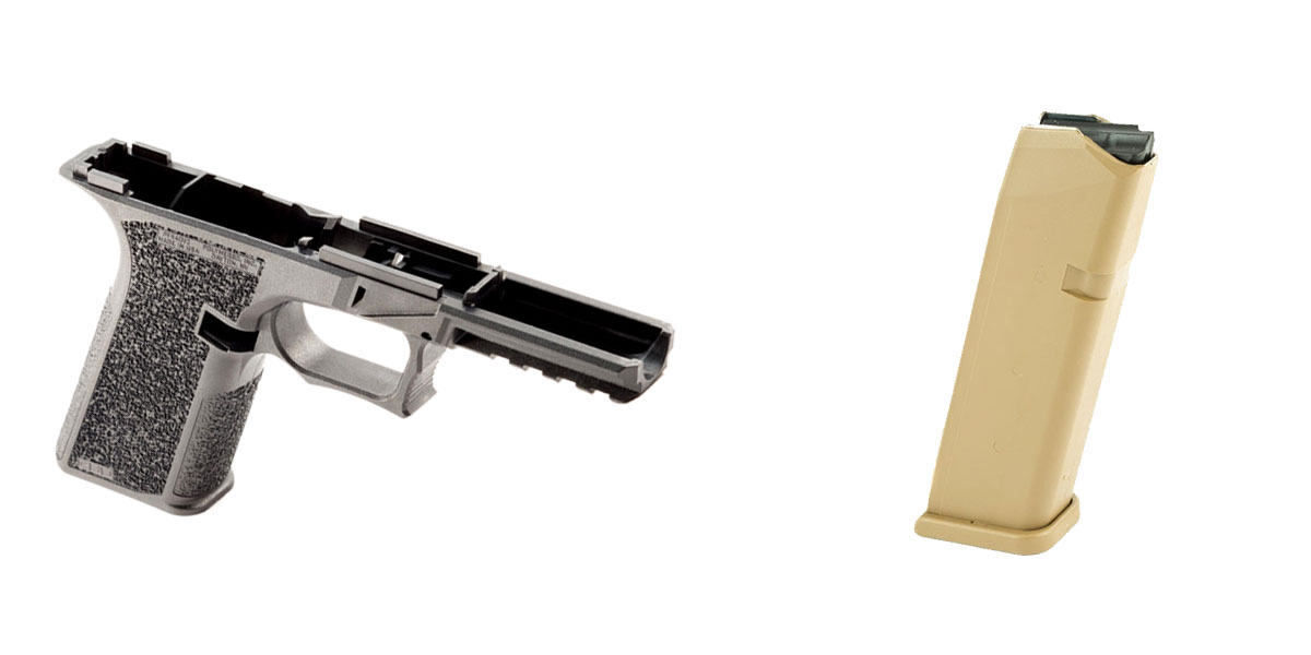 Omega Deals DIY Pistol Kits Featuring: Polymer 80 G17 Frame + Glock Mag for G19X/G17, Coyote Tan, 17 Rd 9mm