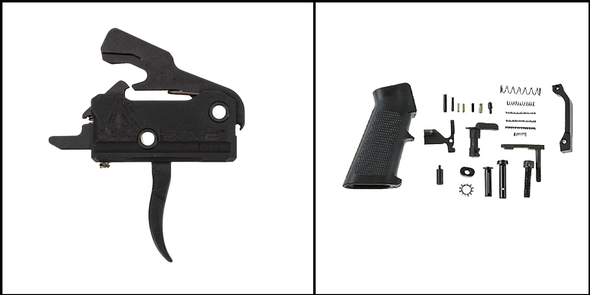 Omega Deals AR-15 Trigger Upgrade Kit Including RISE Armament Rave 140 Curved Trigger w/Anti-Walk Pins +