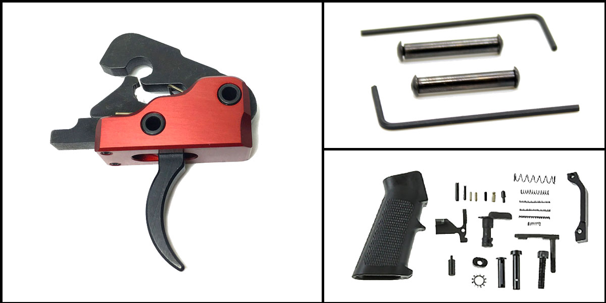 Omega Deals AR-15 Trigger Upgrade Kit Including Recoil Technologies Ultra Match Trigger System Crimson Red +