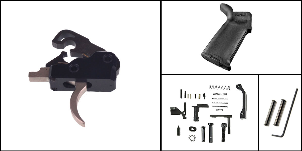 Omega Deals AR-15 Trigger Upgrade Kit Including Davidson Defense Nickel Boron Trigger + CMMG Lower Parts Kit + Magpul MOE+ Grip + Davidson Defense Anti Walk Pins
