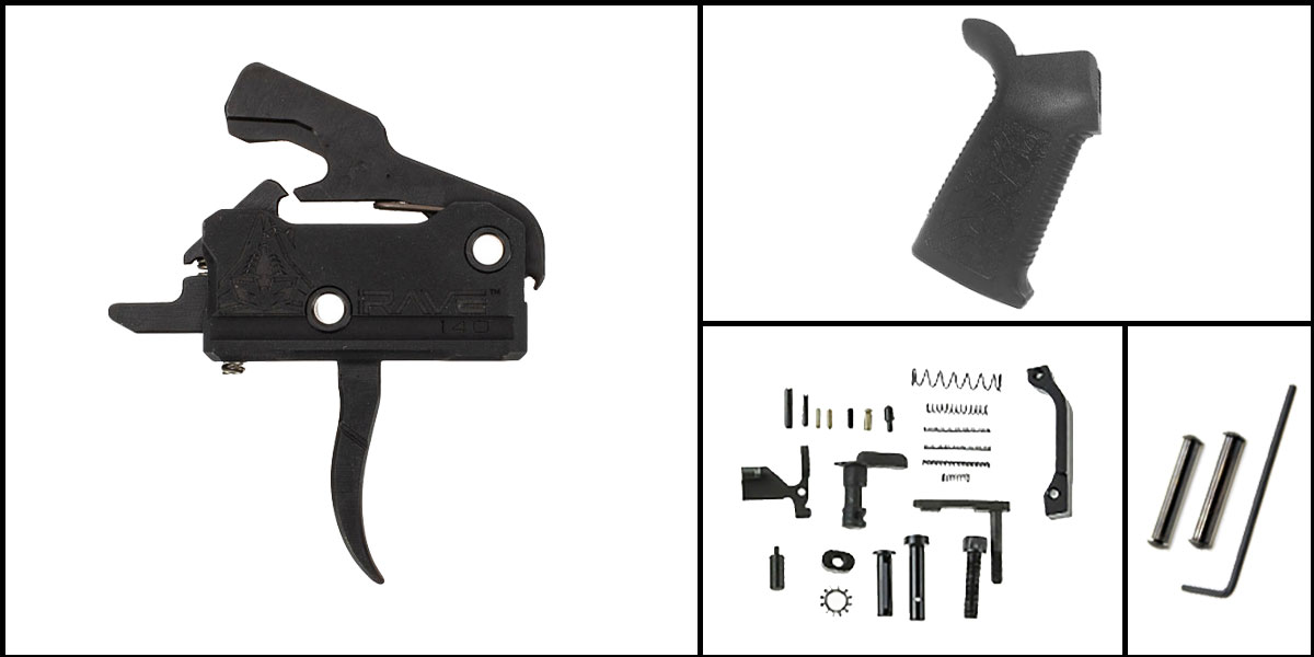 Omega Deals AR-15 Trigger Upgrade Kit Including Rise Armament Flat Trigger + CMMG Lower Parts Kit + Spikes Tactical Pro Grip