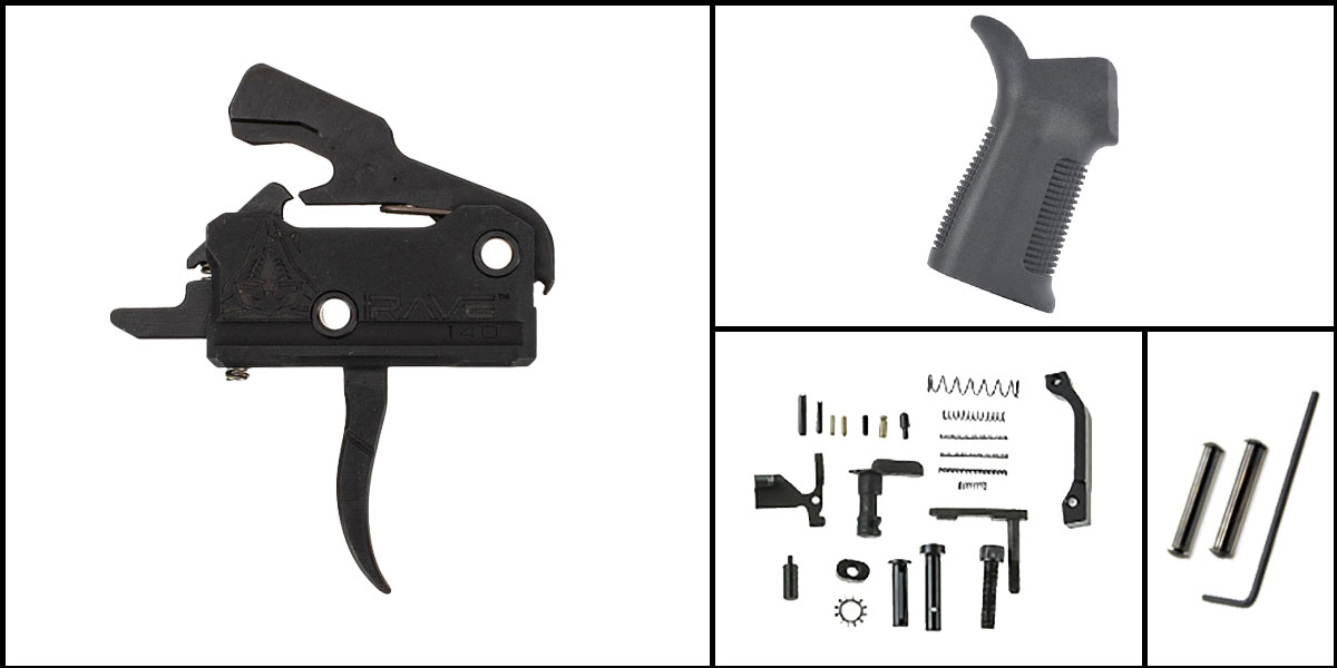 Omega Deals AR-15 Trigger Upgrade Kit Including Rise Armament Flat Trigger + CMMG Lower Parts Kit + Trinity Force 17 Degree Grip