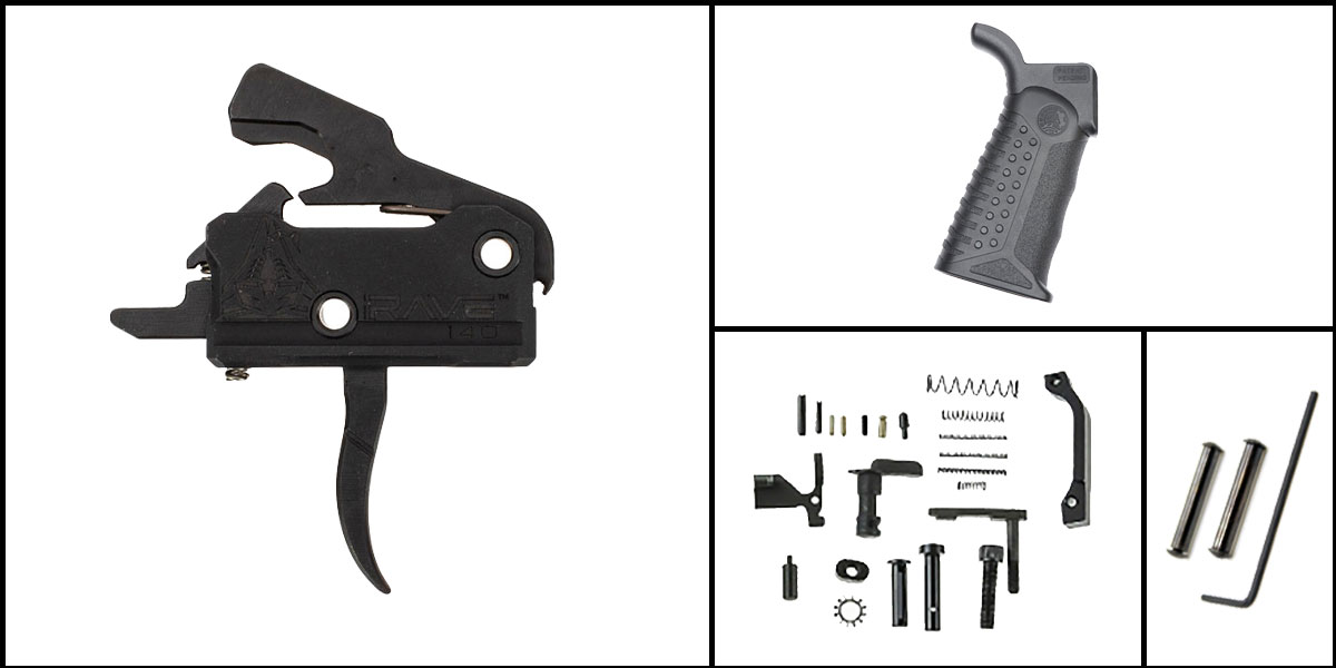 Omega Deals AR-15 Trigger Upgrade Kit Including Rise Armament Flat Trigger + CMMG Lower Parts Kit + Battle Arms Development Tactical Grip