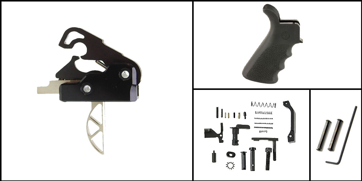 Omega Deals AR-15 Trigger Upgrade Kit Including Davidson Defense Skeletonized Trigger + CMMG Lower Parts Kit + Hogue Beavertail Grip + Davidson Defense Anti Walk Pins