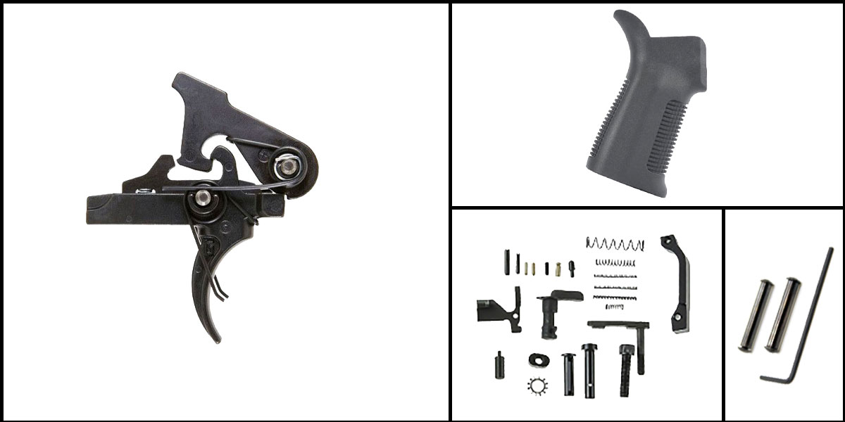 Omega Deals AR-15 Trigger Upgrade Kit Including Geissele Automatics 2 Stage Trigger + CMMG Lower Parts Kit + Trinity Force 17 Degree Grip + Davidson Defense Anti Walk Pins
