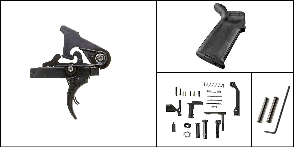 Omega Deals AR-15 Trigger Upgrade Kit Including Geissele Automatics 2 Stage Trigger + CMMG Lower Parts Kit + Magpul MOE+ Grip + Davidson Defense Anti Walk Pins
