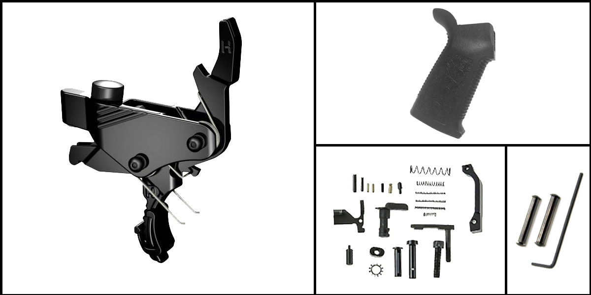 Omega Deals AR-15 Trigger Upgrade Kit Including Hiperfire Power Trigger + CMMG Lower Parts Kit + Spikes Tactical Pro Grip + Davidson Defense Anti Walk Pins