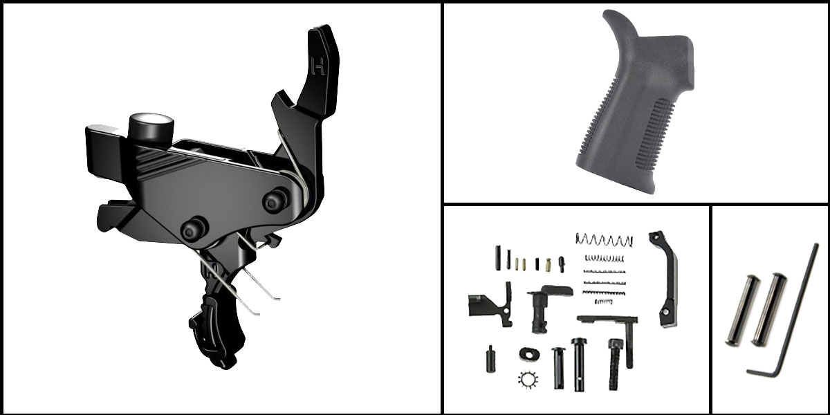 Omega Deals AR-15 Trigger Upgrade Kit Including Hiperfire Power Trigger + CMMG Lower Parts Kit + Trinity Force 17 Degree Grip + Davidson Defense Anti Walk Pins