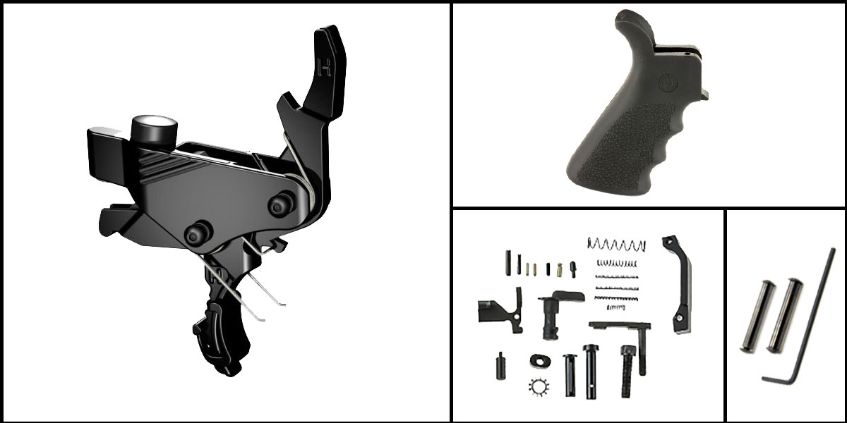 Omega Deals AR-15 Trigger Upgrade Kit Including Hiperfire Power Trigger + CMMG Lower Parts Kit + Hogue Beavertail Grip + Davidson Defense Anti Walk Pins