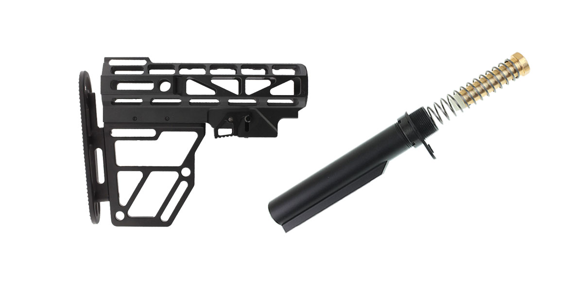 Skeletonized Aluminum Stock + Omega Mfg. Mil-Spec Buffer Tube Kit