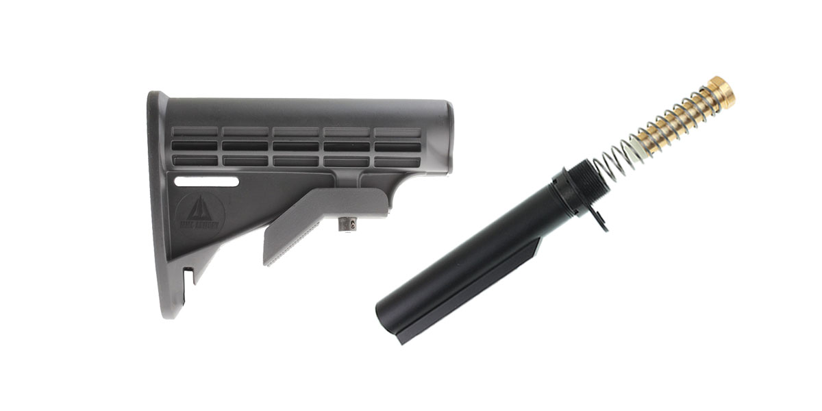 Omega Deals MMC Armory 6-Position Adjustable Polymer LE Butt Stock - Minus Sling Loop + Omega Mfg. Mil-Spec Buffer Tube Kit