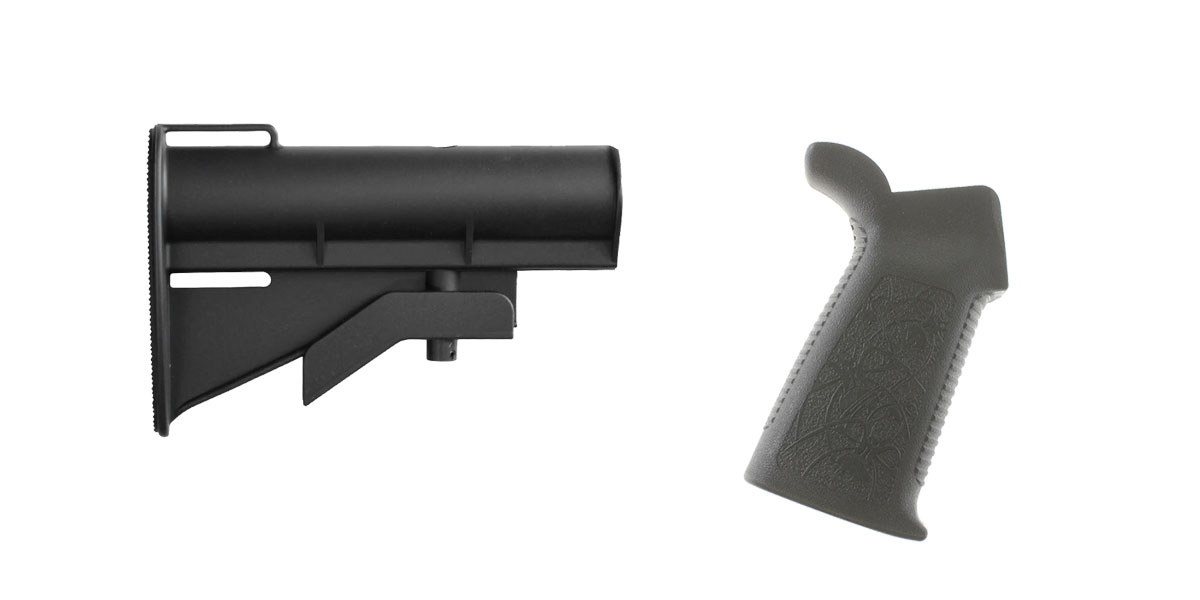 Omega Deals Stock and Pistol Grip Furniture Set: Featuring United Defense + Spike's Tactical