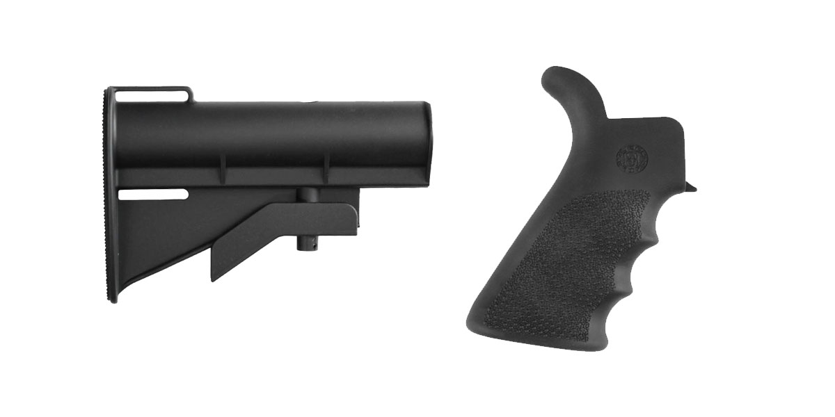 Omega Deals Stock and Pistol Grip Furniture Set: Featuring United Defense + Hogue