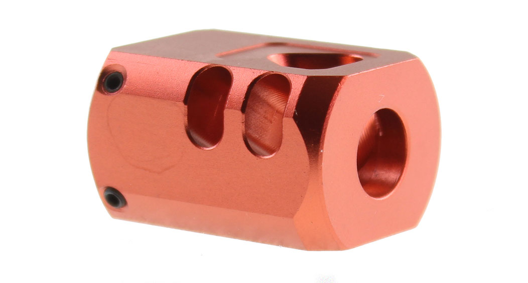 Recoil Technologies Glock 1/2X28 9MM Aluminum MB Triangle Top Port Muzzle Brake - Red