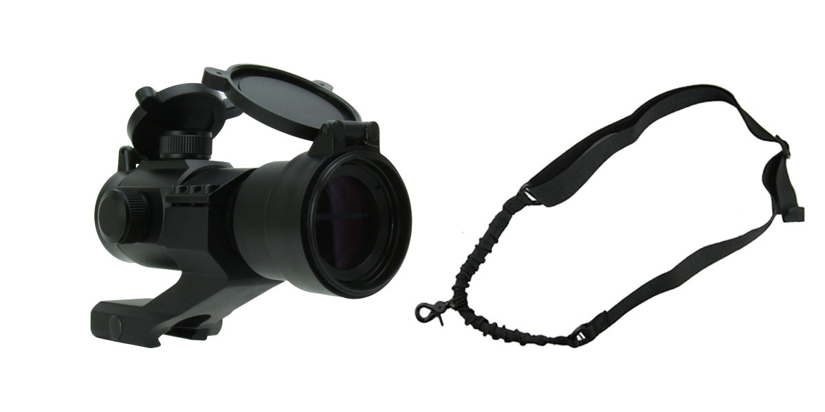 Omega Deals 1X30 TRI. ILLUMINATED RED/GREEN/BLUE DOT SIGHT WITH CANTILEVER MOUNT + One Point Bungee Rifle Sling/Black