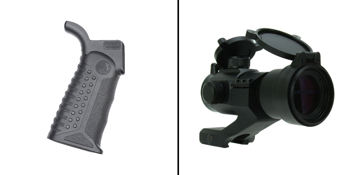 Omega Deals Battle Arms Development Adjustable Tactical Grip - 3 Grip Angles + 1X30 Dual Illuminated Red/Green Dot Sight