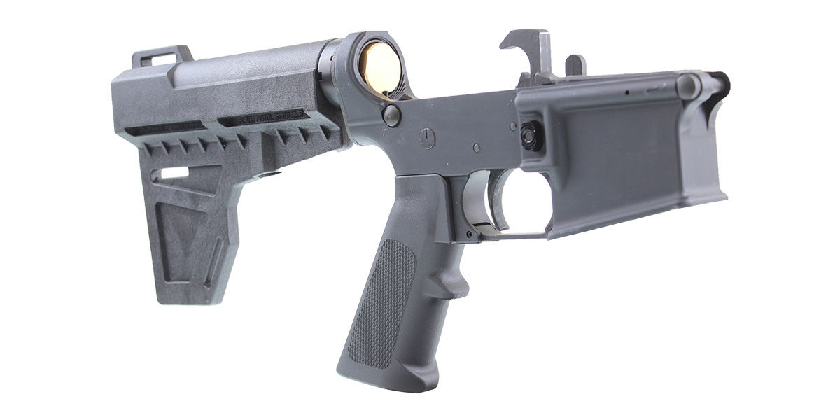 Omega Customs AR-15 Pistol Lower Receiver Build Kit Featuring An Anderson Lower Receiver KAK Industries Shockwave Brace KAK Industries LPK (Assembled or Unassembled)