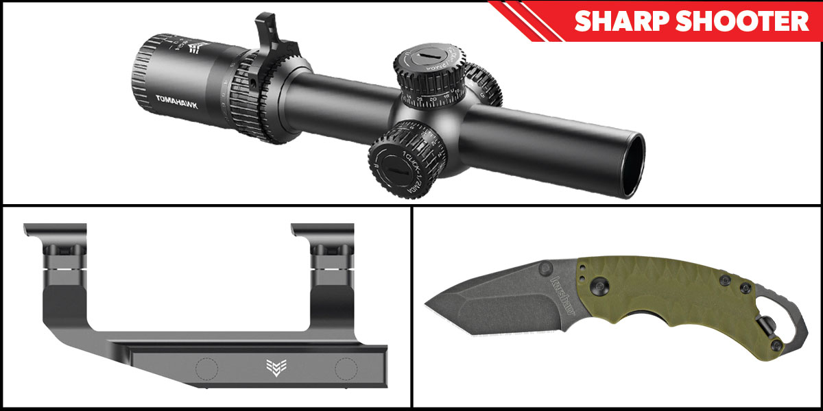 Omega Deals Sharp Shooter Combos: Swampfox Optics Tomahawk LPVO Scope MOA Reticle 1-4x24 + Kershaw Shuffle II Folding Knife + Swampfox Optics Independence Mount 30mm