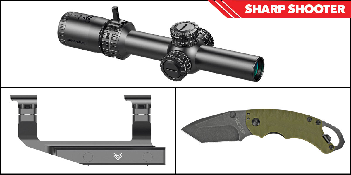 Omega Deals Sharp Shooter Combos: Swampfox Optics Arrowhead 30mm Tube Scope 1-6x24 + Kershaw Shuffle II Folding Knife + Swampfox Optics Independence Mount 30mm