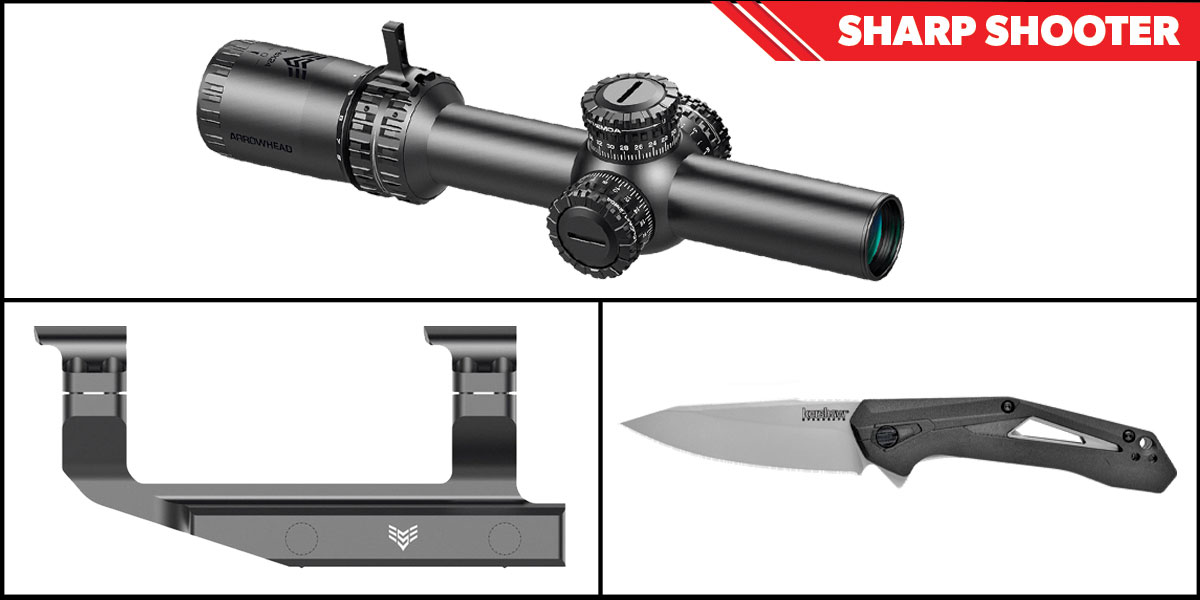 Omega Deals Sharp Shooter Combos: Swampfox Optics Arrowhead LPVO Scope MOA Reticle 1-10x24 + Kershaw Airlock Folding Knife + Swampfox Optics Independence Mount 30mm