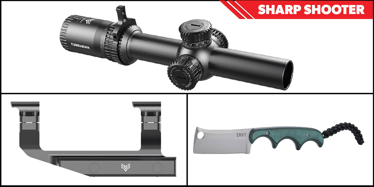 Omega Deals Sharp Shooter Combos: Swampfox Optics Tomahawk LPVO Scope BDC Reticle 1-4x24 + CRKT Minimalist Cleaver + Swampfox Optics Independence Mount 30mm