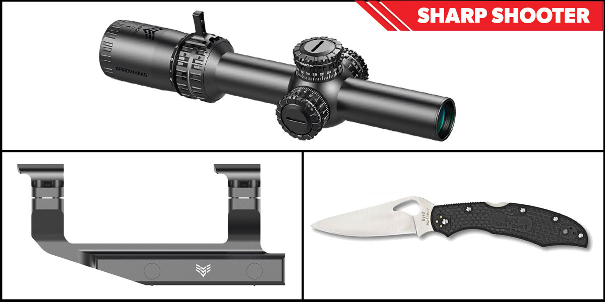 Omega Deals Sharp Shooter Combos: Swampfox Optics Arrowhead 30mm Tube Scope 1-6x24 + Spyderco Byrd Folding Knife + Swampfox Optics Independence Mount 30mm