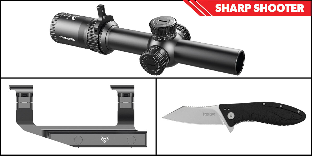 Omega Deals Sharp Shooter Combos: Swampfox Optics Tomahawk LPVO Scope MOA Reticle 1-4x24 + Kershaw Grinder Folding Knife + Swampfox Optics Independence Mount 30mm