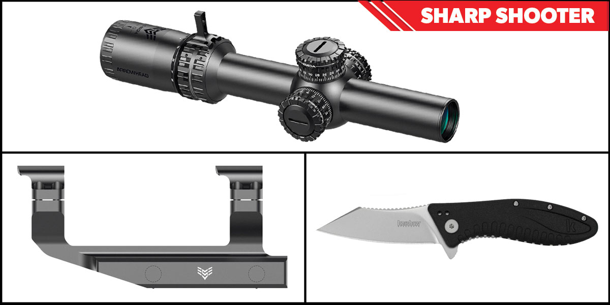 Omega Deals Sharp Shooter Combos: Swampfox Optics Arrowhead 30mm Tube Scope 1-6x24 + Kershaw Grinder Folding Knife + Swampfox Optics Independence Mount 30mm