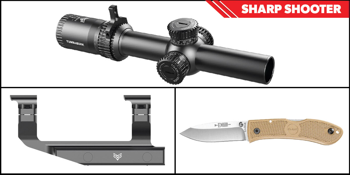 Omega Deals Sharp Shooter Combos: Swampfox Optics Tomahawk LPVO Scope MOA Reticle 1-4x24 + KABAR Hunter Folding Knife 4.25