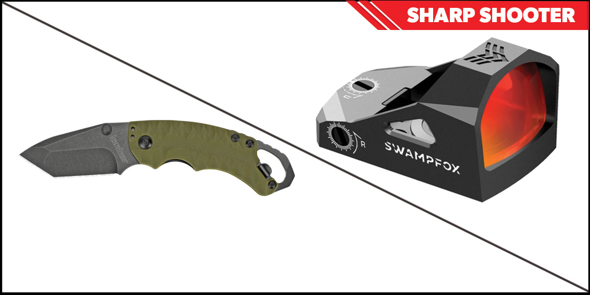 Omega Deals Sharp Shooter Combos: Swampfox Optics Justice Red Dot 1x27 + Kershaw Shuffle II Folding Knife