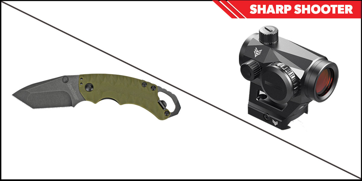 Omega Deals Sharp Shooter Combos: Swampfox Optics Liberator Green Dot 1x22 + Kershaw Shuffle II Folding Knife
