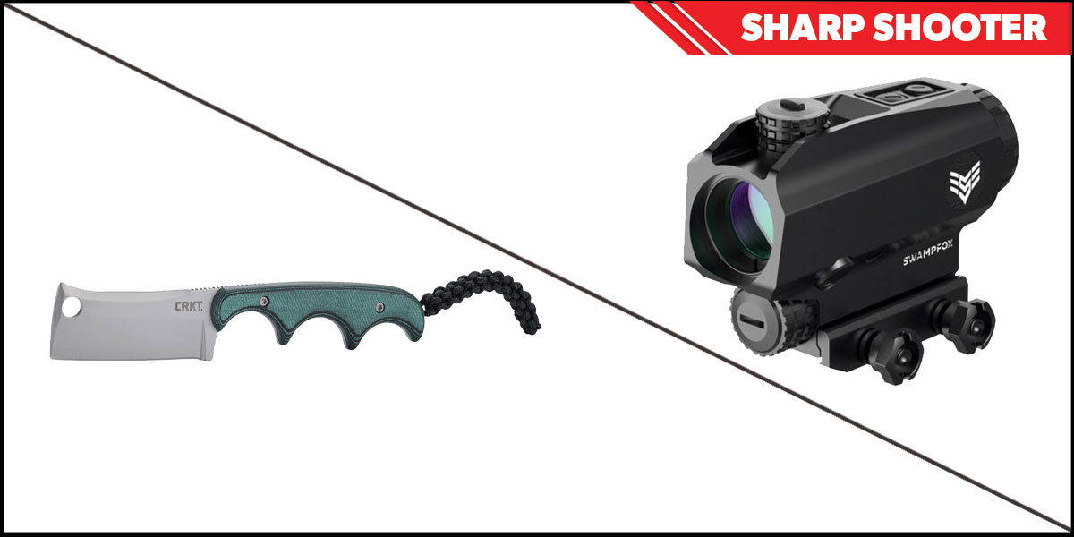 Omega Deals Sharp Shooter Combos: Swampfox Optics Blade Prism Sight Red Dot 1x25 + CRKT Minimalist Cleaver