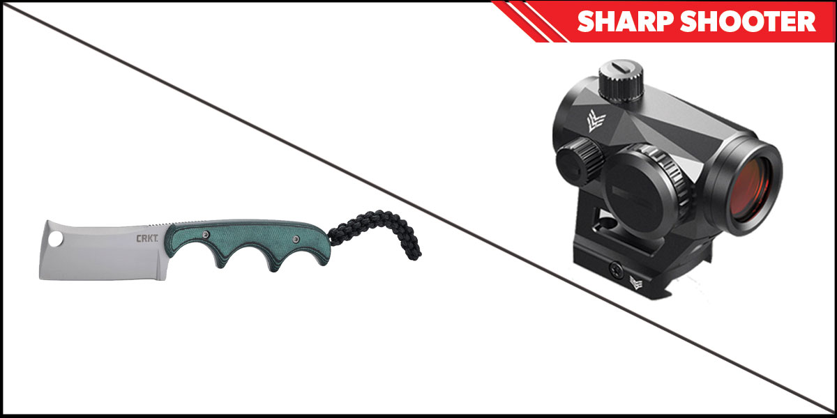 Omega Deals Sharp Shooter Combos: Swampfox Optics Liberator Green Dot 1x22 + CRKT Minimalist Cleaver