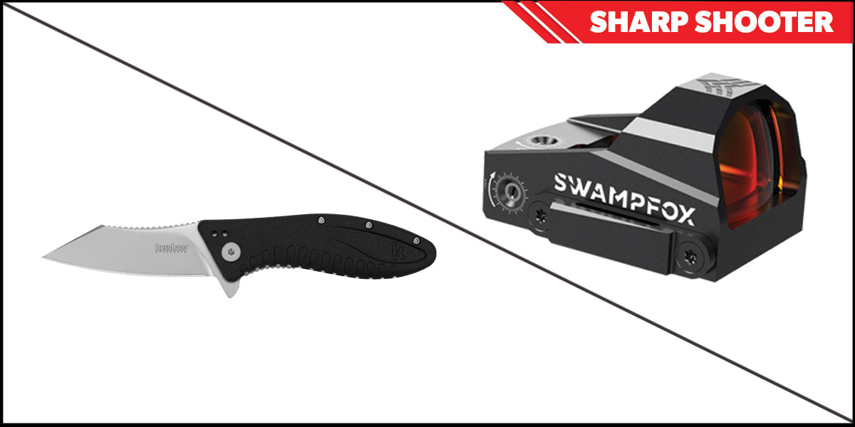 Omega Deals Sharp Shooter Combos: Swampfox Optics Kingslayer Red Dot 1x22 + Kershaw Grinder Folding Knife