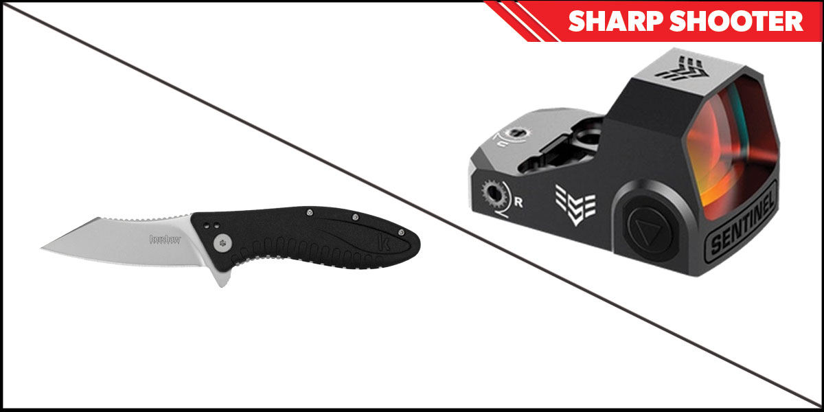 Omega Deals Sharp Shooter Combos: Swampfox Optics Sentinel Red Dot 1x16 Ambient Brightness + Kershaw Grinder Folding Knife