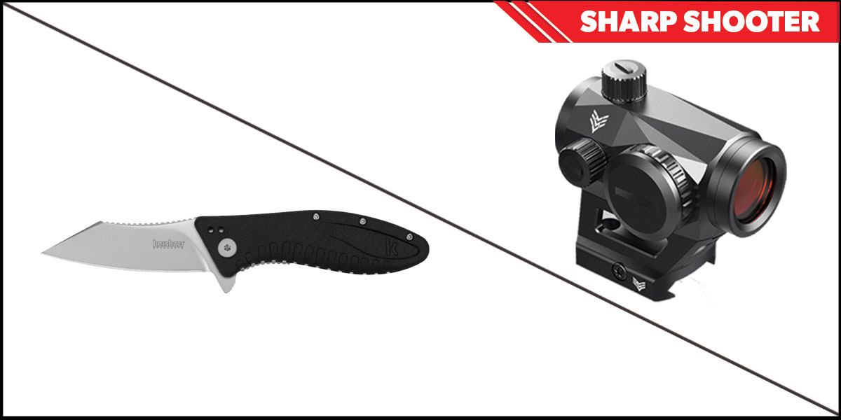 Omega Deals Sharp Shooter Combos: Swampfox Optics Liberator Green Dot 1x22 + Kershaw Grinder Folding Knife