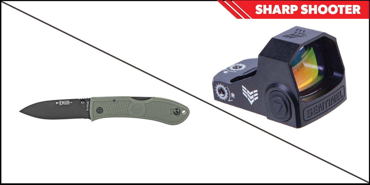 Omega Deals Sharp Shooter Combos: Swampfox Optics Sentinel Red Dot 1x16 Manual Brightness + KABAR Hunter Folding Knife 3