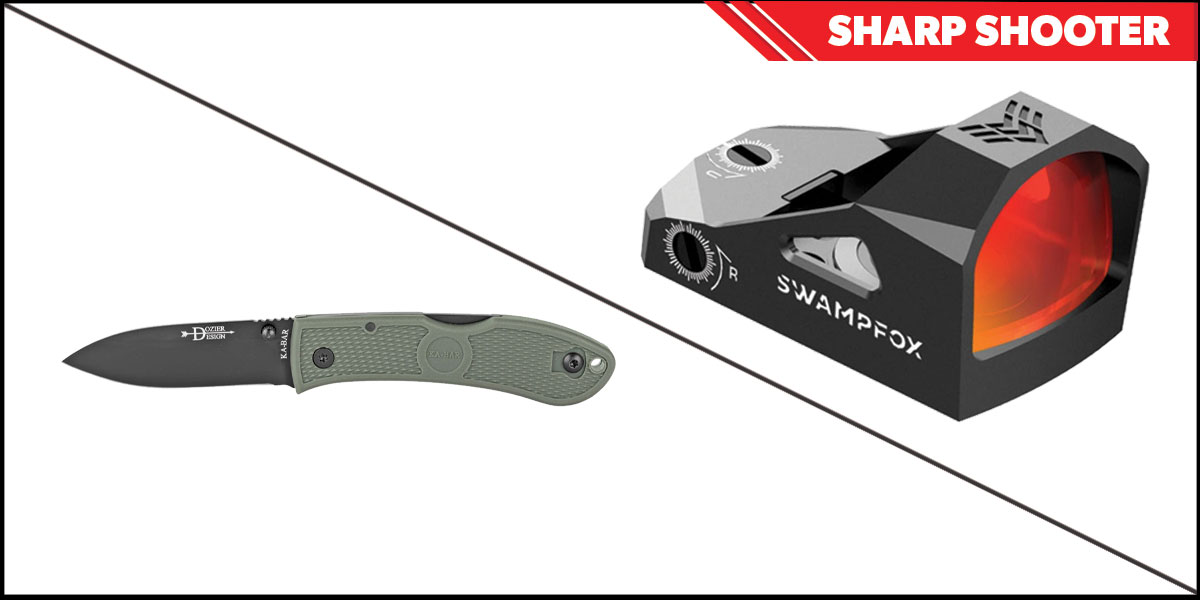 Omega Deals Sharp Shooter Combos: Swampfox Optics Justice Red Dot 1x27 + KABAR Hunter Folding Knife 3