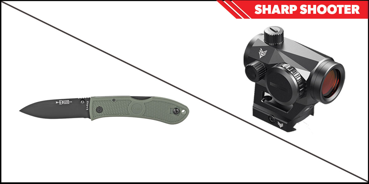Omega Deals Sharp Shooter Combos: Swampfox Optics Liberator Green Dot 1x22 + KABAR Hunter Folding Knife 3