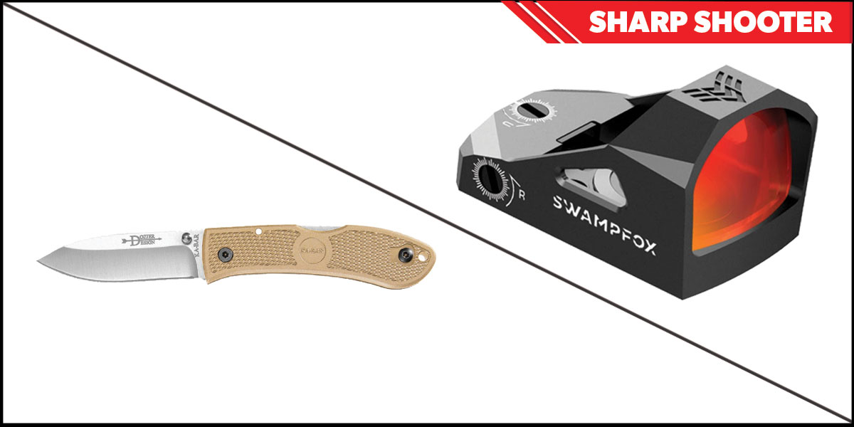 Omega Deals Sharp Shooter Combos: Swampfox Optics Justice Red Dot 1x27 + KABAR Hunter Folding Knife 4.25