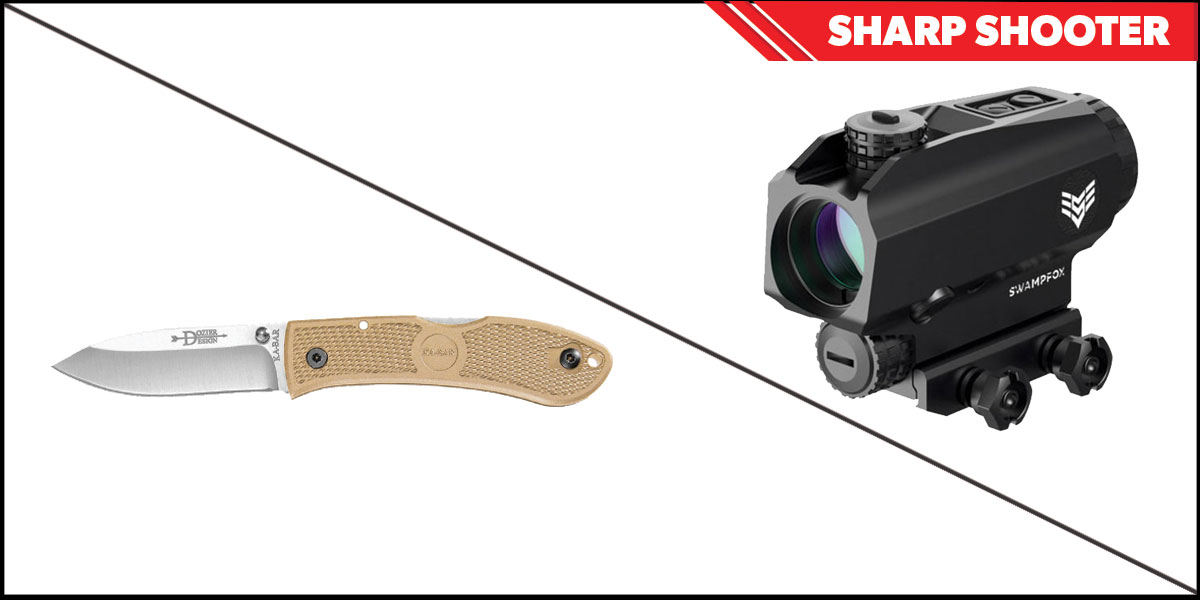 Omega Deals Sharp Shooter Combos: Swampfox Optics Blade Prism Sight Red Dot 1x25 + KABAR Hunter Folding Knife 4.25