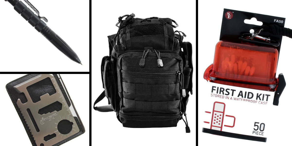 Tactical Gift Box VISM First Responders Utility Bag - Black + Tactical Pen w/ Glass Breaker - Black + 50 Piece First Aid Kit in a Waterproof Storage Container + 11-IN-1 Multi-Function Survival Tool - 5 pc set