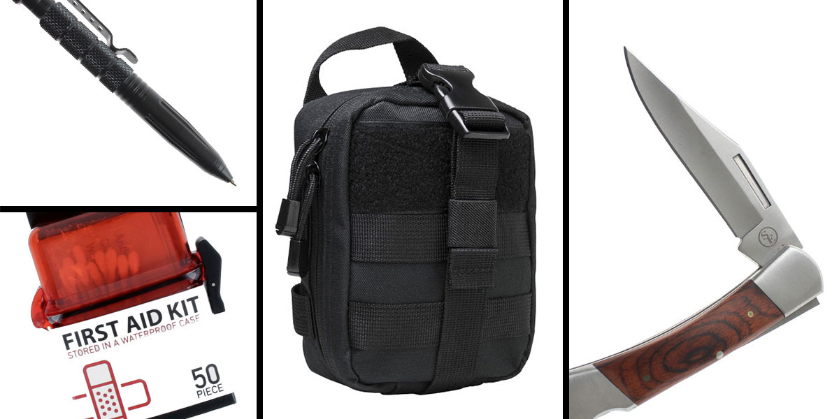 Tactical Gift Box VISM MOLLE EMT Pouch - Black + 50 Piece First Aid Kit in a Waterproof Storage Container + 3