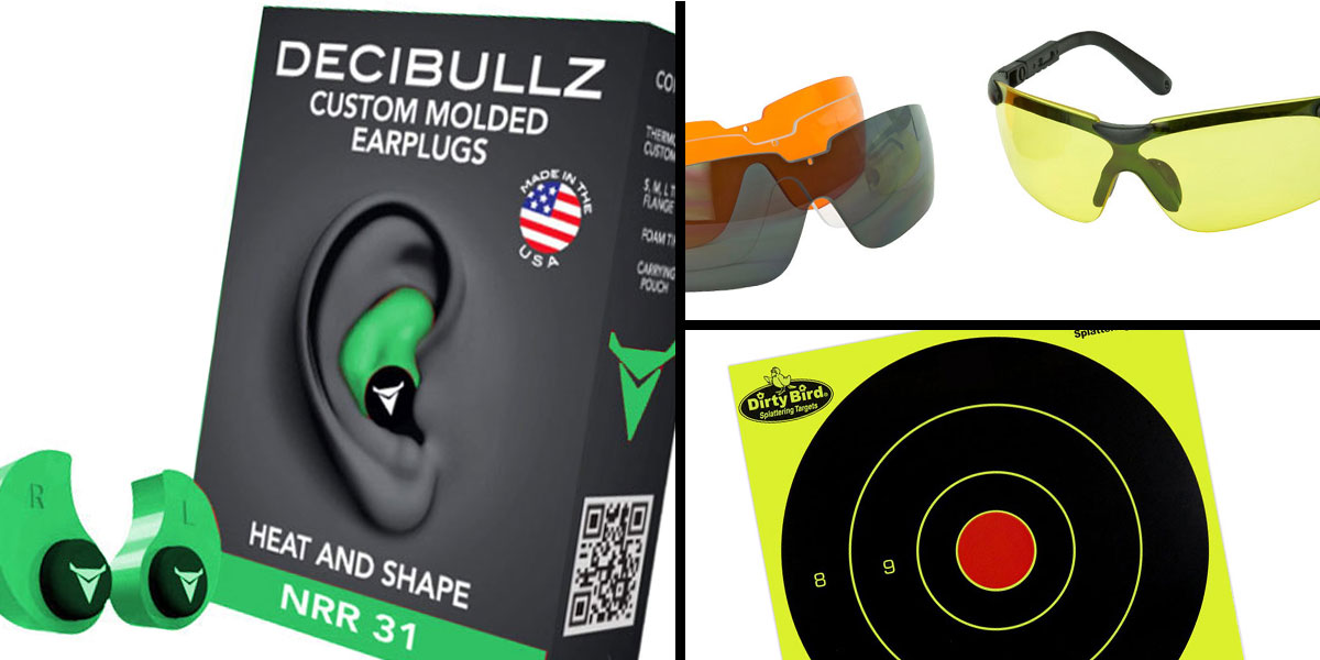 Tactical Gift Box Walker's Glasses, 3 Colo Lens Kit + Decibullz Green + Birchwood Casey, Dirty Bird 8