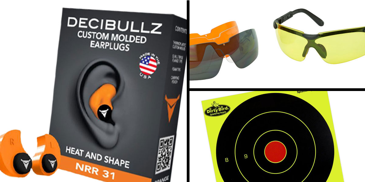 Tactical Gift Box Walker's Glasses, 3 Colo Lens Kit + Decibullz Orange + Birchwood Casey, Dirty Bird 8