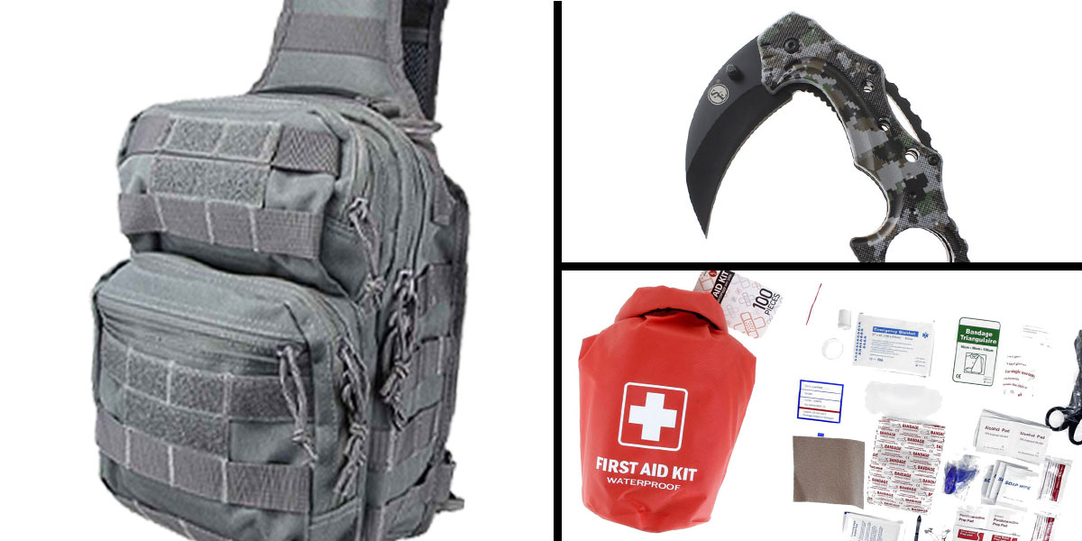 Tactical Gift Box 100 Piece First Aid Kit stored in Dry Sack + Folding Hawkbill Blade Knife w/ Clip-Digital Camo Green + Shoulder Sling Utility Bag - Grey
