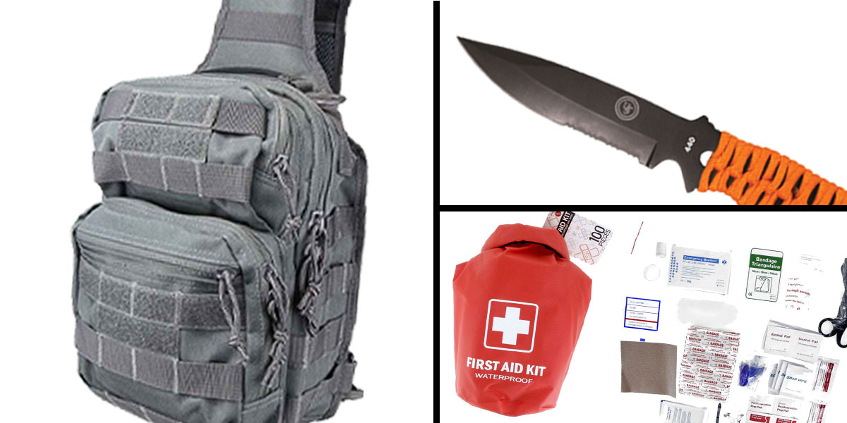 Tactical Gift Box 100 Piece First Aid Kit stored in Dry Sack + UST Para Knife FS + Shoulder Sling Utility Bag - Grey