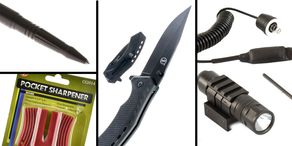Tactical Gift Box Tactical Pen + JE Machine 250 Lumen Flashlight with Pressure Switch + Spring Assisted Pocket Knife with Clip-Black + SE Pocket Sharpener-Ceramic Sharpener